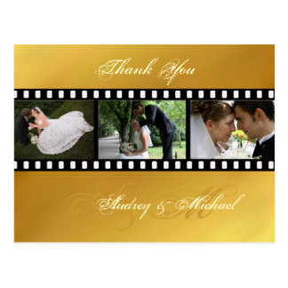 Gold tone wedding Thank you postcards