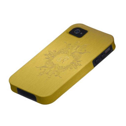 Gold Tones Brushed Aluminum Look-Monogram Case-Mate iPhone 4 Cases