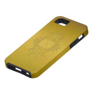 Gold Tones Brushed Aluminum Pattern-Monogram iPhone 5 Case