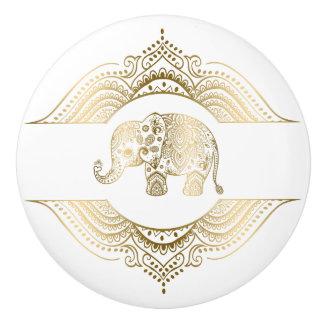 Gold Tones Cute Elephant & Lace Ceramic Knob