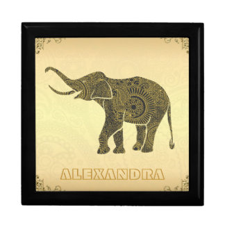 Gold Tones Elephant-Custom Monogram Gift Box