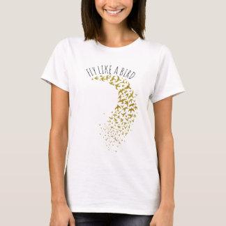 Gold Tones Flying Flock Of Birds Custom T T-Shirt