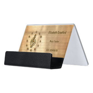 Gold Treble Clef Clock With Circle Of Fifths Music Desk Business Card Holder