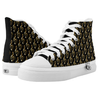 Gold Treble Clef High Tops