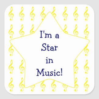 Gold Treble Clef Music Star Square Sticker