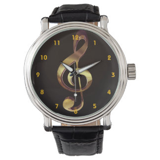 Gold Treble Clef Music Watch