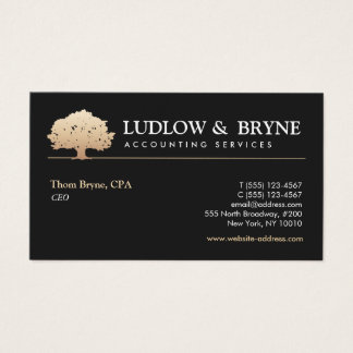 Gold Tree Logo Classic Professional Black Business Card