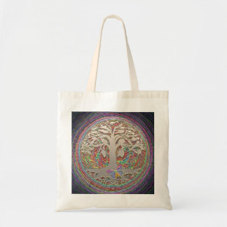 Gold Tree with Butterly Tote Bag