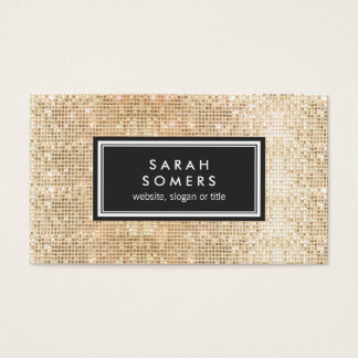 Gold Trendy Fun  FAUX Sequin Beauty Salon Business Card