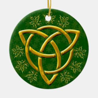 Gold Tri-Quatra Golden Snowflakes & Holly on Green Round Ceramic Decoration