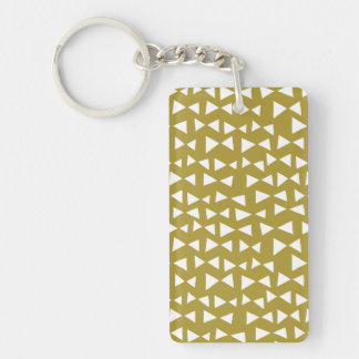 Gold Triangle Mustard Yellow Olive / Andrea Lauren Double-Sided Rectangular Acrylic Key Ring