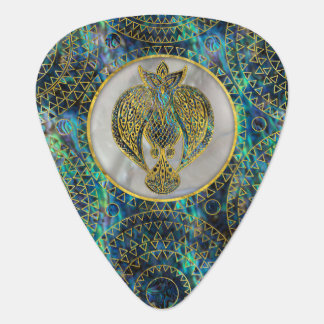 Gold Tribal Bird on  Abalone Plectrum