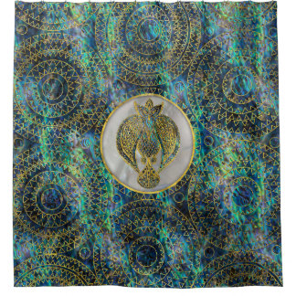 Gold Tribal Bird on  Abalone Shower Curtain