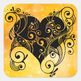 Gold Tribal Heart Sticker