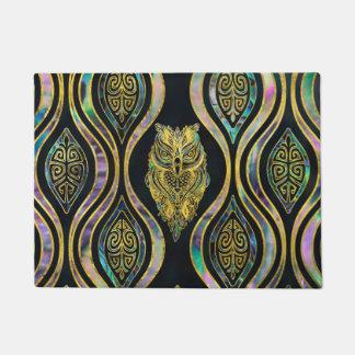 Gold Tribal Owl on Boho Abalone Pattern Doormat