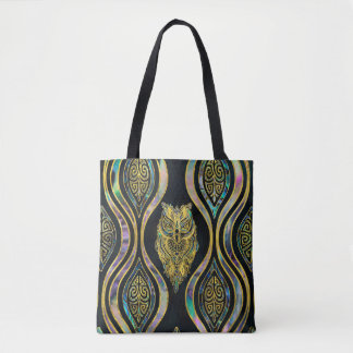 Gold Tribal Owl on Boho Abalone Pattern Tote Bag