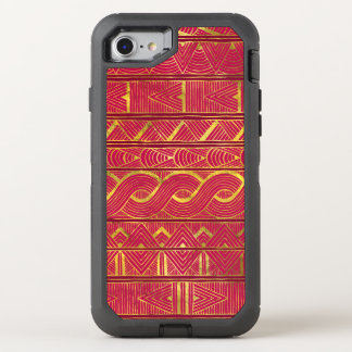 Gold Tribal Pattern on Deep Pink OtterBox Defender iPhone 8/7 Case