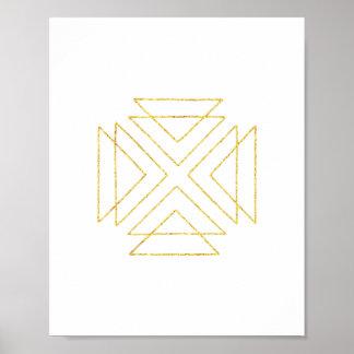 Gold Tribal Triangles Geometric Wall Art