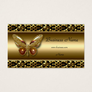Gold Trim Black Butterfly Elegant Business Card