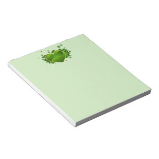 Gold-Trimmed Green Heart with Shamrocks Notepad