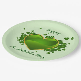Gold-Trimmed Green Heart with Shamrocks Paper Plate