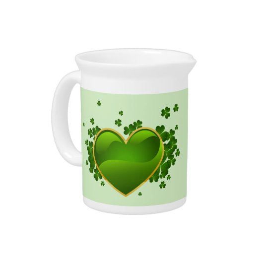 Gold-Trimmed Green Heart with Shamrocks Pitcher