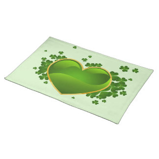 Gold-Trimmed Green Heart with Shamrocks Placemat