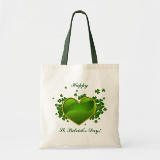 Gold-Trimmed Green Heart with Shamrocks Tote Bag