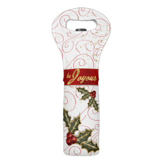 Gold Trimmed Holly Be Joyous and Jolly Wine Bag