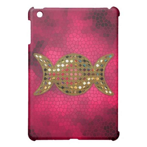 Gold Triple Goddess Moon Phases Pink iPad Mini Cases