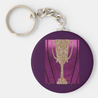 Gold TROPHY : Award Reward Celebration Basic Round Button Key Ring