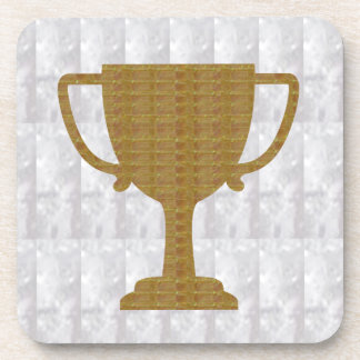 GOLD Trophy Crystal White  add text excellence Beverage Coaster