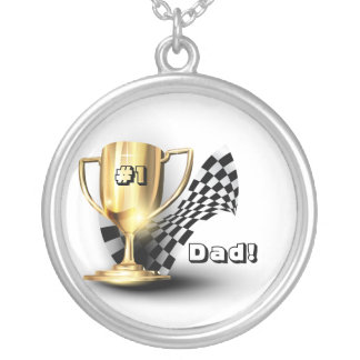 Gold Trophy NUmber One Dad Father's Day Silver Plated Necklace