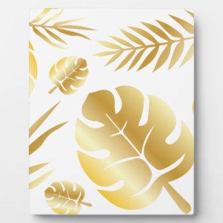 Gold tropical leaves elegant modern pattern design plaque