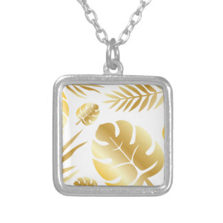 Gold tropical leaves elegant modern pattern design silver plated necklace