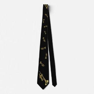 gold trumpet on black tie
