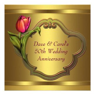 Gold Tulips 50th Wedding Anniversary Invitations