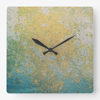 Gold & turquoise stone geode pattern square wall clock