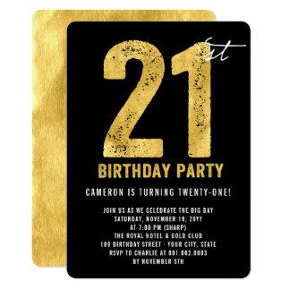Gold Twenty One Modern 21st Birthday Party Invite