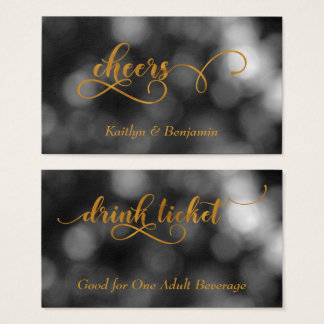 Gold Typography Black & White Bokeh Drink Tickets