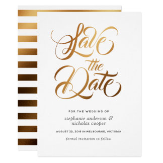 Gold typography brush text save the date card