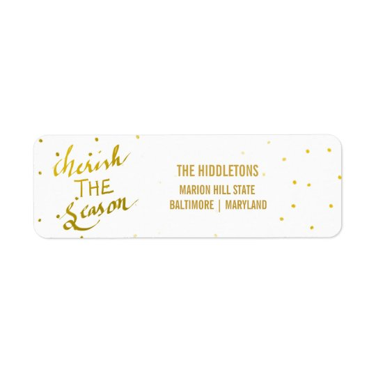 Gold Typography Cherish The Season Script Photo Return Address Label