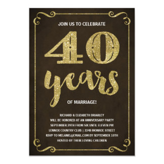 Gold Typography | Faux Foil 40th Anniversary 13 Cm X 18 Cm Invitation Card