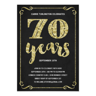 Gold Typography | Faux Foil 70th Birthday Party 13 Cm X 18 Cm Invitation Card