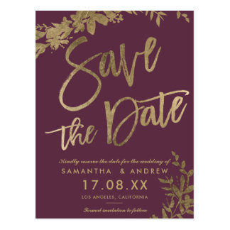 Gold typography leaf floral plum save the date postcard