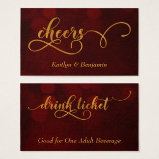 Gold Typography over Red Bokeh Drink Tickets