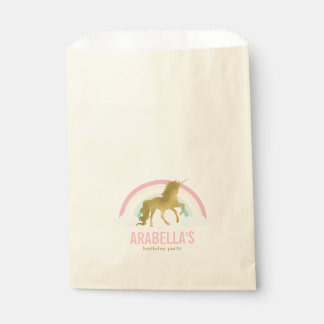 Gold Unicorn Girls Birthday Party Favour Bag