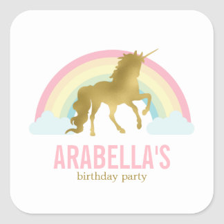 Gold Unicorn Girls Birthday Party Square Sticker