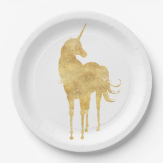 Gold Unicorn Paper Plate