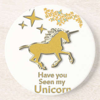 Gold unicorn pony horse with Golden stars Coaster